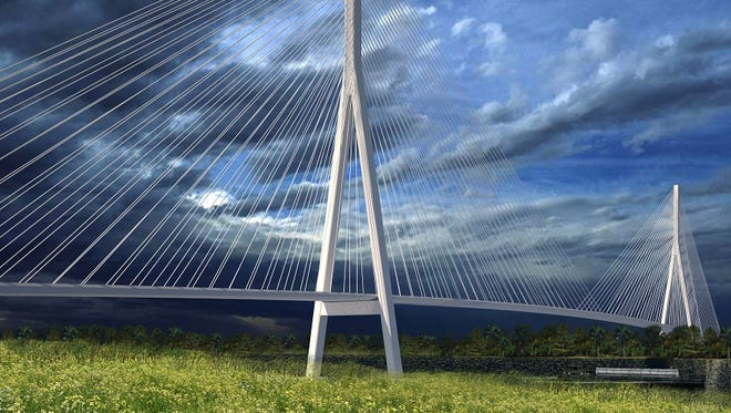 Renderings shows one potential configuration of the planned Gordie Howe International Bridge spanning the Detroit River between Windsor and Detroit.