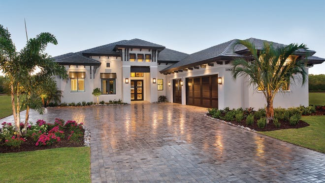 The Seabrook model, built by Harbourside Custom Homes at Miromar Lakes, offers fourbedrooms, fourfull bathroomsand twohalf-baths with 3,382 square feet under air and 4,990 total square feet.