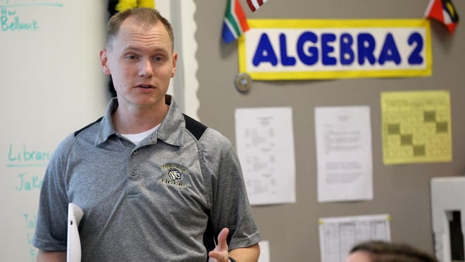Central Magnet School math teacher Kyle Prince, who was named the top educator in Middle Tennessee during the state's Teacher of the Year awards on Thursday night,  teaches an Algebra 2 class, on Friday, Sept. 25, 2015.