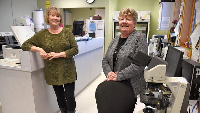 Roxie Ostendorf, former director of nursing at CentraCare Health-Long Prairie, and her sister Kathy Rausch, former manager of imaging and lab, talk about their recent retirement Sunday, Dec. 27 in Long Prairie. The sisters plan to still do volunteer work at the facility in their retirement.