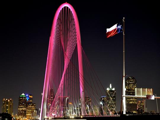 The Margaret Hunt Hill Bridge in Dallas, shown here