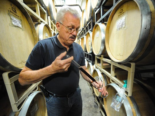 Shelton of Bordeleau Vineyards and Winery tests a 2012