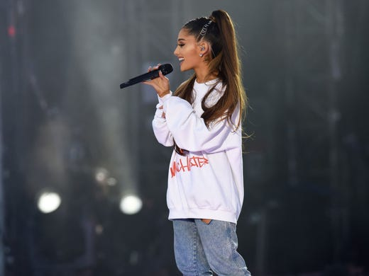 Ariana grande leads emotional concert for manchester attack victims ariana grande performs at the one love manchester benefit m4hsunfo