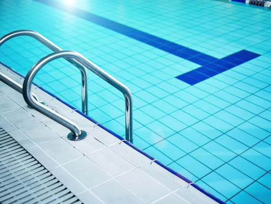 The swimming pool ladder