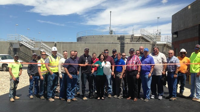Cedar City Mayor Maile Wilson and several workers at the wastewater treatment plant, as well as City Council, attend the completion of teh Nitrate Project on Thursday.