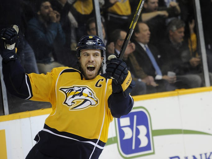 Nashville Predators defenseman Shea Weber reacts after scoring a power play goal against the Winnipeg Jets at Bridgestone Arena on Oct. 24, 2013.