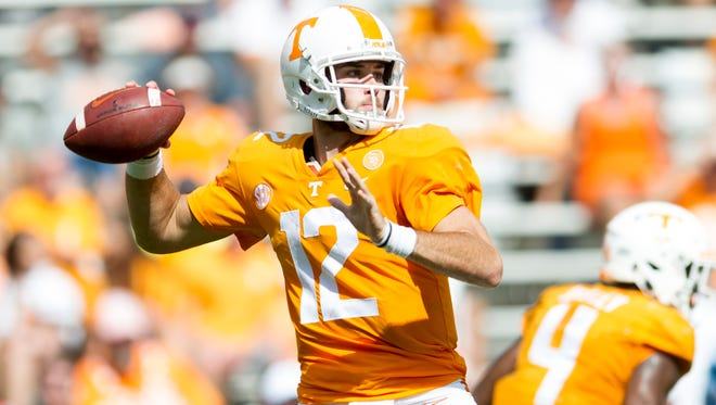 Tennessee quarterback Quinten Dormady (12) lines up a pass during the Tennessee Volunteers vs. UMass Minutemen game at Neyland Stadium in Knoxville, Tennessee on Saturday, September 23, 2017.