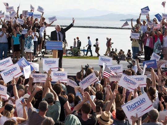 The crowd waves Bernie 2016 signs at Sen. Bernie Sanders' presidential campaign kickoff May 26 at Waterfront Park in Burlington.
