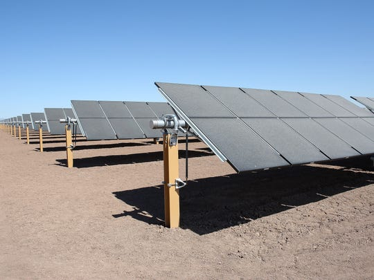 Solar panels generate electricity at the 107-megawatt Midway solar farm in Calipatria, California.