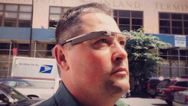 Tim Moore is a Google Glass Explorer and founder of the wearable technology startup Venture Glass in Wilmington, N.C. He's pictured in front of Google's headquarters in New York City in June 2013.[Via MerlinFTP Drop]