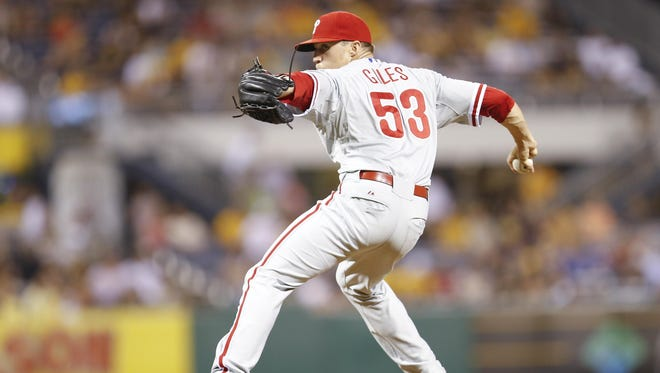 Phillies relief pitcher Ken Giles got visibly unhappy about being told to intentionally walk Pittsburgh's Pedro Alvarez with first base open and two outs in the eighth inning of a scoreless game Friday.