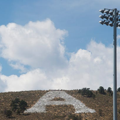 """The """"A"""" sits on the hillside above Hughes Stadium with"""