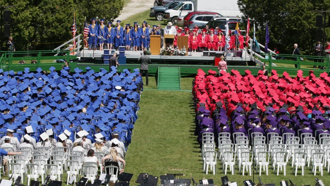 An overall of Vollrath Bowl during commencement Sunday June 5, 2016 in Sheboygan.