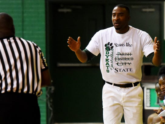 Bossier girls basketball coach DeShawn Williams asks