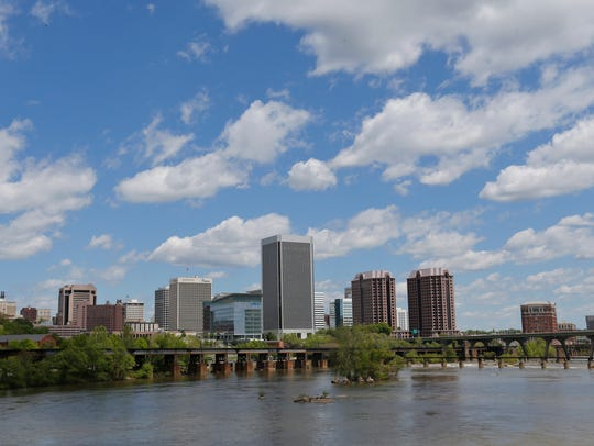 Downtown Richmond, Va., on the banks of the James River.
