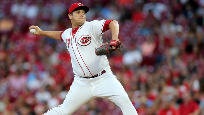 Cincinnati Reds relief pitcher David Hernandez (37) delivers in the sixth inning during a National League baseball between the St. Louis Cardinals and the Cincinnati Reds, Monday, July 23, 2018, at Great American Ball Park in Cincinnati.