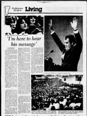 Burlington Free Press coverage from April 24, 1982, of the Rev. Billy Graham's appearance at Patrick Gymnasium in Burlington.