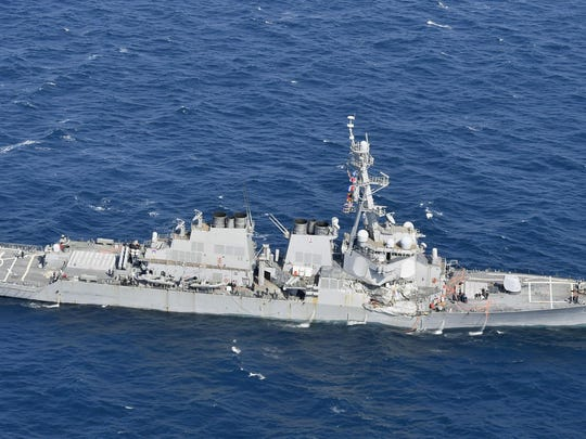 The USS Fitzgerald is seen off Shimoda, Shizuoka prefecture, Japan, after the Navy destroyer collided with a merchant ship, Saturday, June 16, 2017.