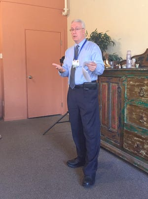 Brian Cunningham, CEO of Gila Regional Medical Center, discussed the 4 Mill Levy at the Kiwanis Meeting on Tuesday at Little Toad Creek.