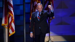Tim Kaine walks on stage during the Democratic National