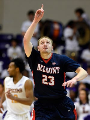 Belmont's Craig Bradshaw reacts after scoring  during the second half at Lipscomb on Monday.