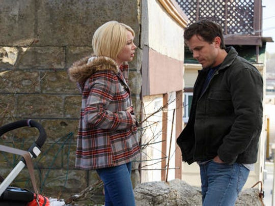 """FILE - This image released by Roadside Attractions and Amazon Studios shows Michelle Williams, left, and Casey Affleck in a scene from """"Manchester By The Sea."""" The film has been nominated for an Oscar for the best picture and best directing categories. Movie fans can watch a variety of Oscar-nominated flicks online from their couches for a fee. The films """"Arrival"""" and """"Hell or High Water"""" can be rented through Amazon, Google Play or Apple's iTunes, but viewers will have to buy downloads of """"Hacksaw Ridge,"""" """"Manchester by the Sea"""" and """"Moonlight."""""""
