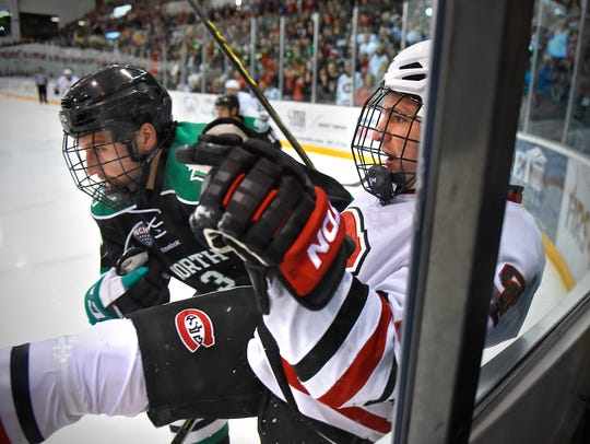 St. Cloud State's Ryan Papa and Tucker Poolman of North