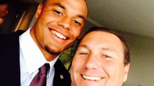 Mississippi State coach Dan Mullen snapped a selfie with his quarterback Dak Prescott on Tuesday at SEC Media Days.