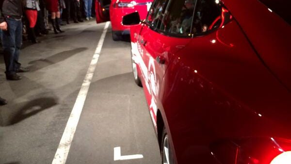 Two Tesla receive a warm send off near Los Angeles as they try to set a record on the way to New York