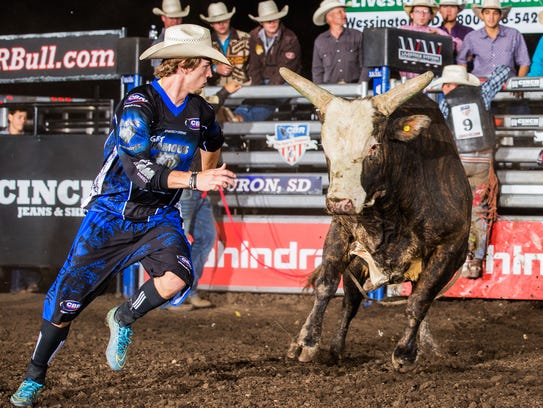A rider faces a bull during the 2016 Championship Bull