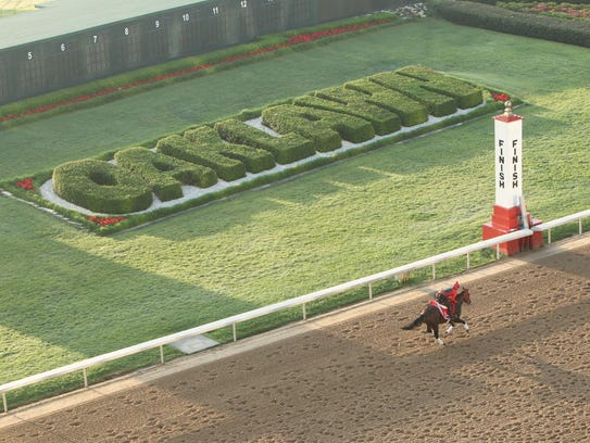 Classic Empire gallops at Oaklawn Park in Hot Springs,