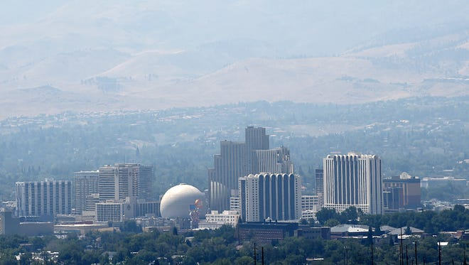 A file photo of haze seen in downtown Reno.