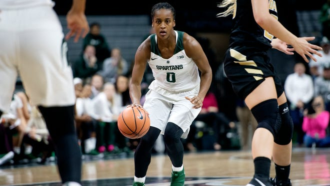 Michigan State's Shay Colley moves with the ball during the first quarter on Monday, November 13, 2017, at the Breslin Center in East Lansing.