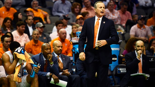 Tennessee head coach Rick Barnes yells to the court during the NCAA Tournament first round game between Tennessee and Wright State at American Airlines Center in Dallas, Texas, on Thursday, March 15, 2018.