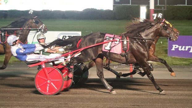 Southwind Chrome and driver Scott Zeron are up in time in the featured Preferred for trotters at the Meadowlands Racetrack Friday night.