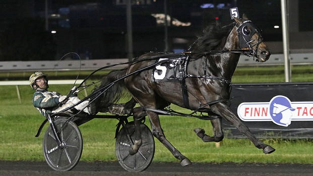 Kissin In The Sand and driver Yannick Gingras take Friday, June 5, 2020, co-feature preferred for pacing fillies and mares at the Meadowlands Racetrack.