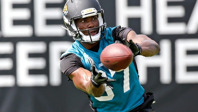 Jacksonville Jaguars receiver Neal Sterling catches a pass during NFL football organized training activities, Tuesday, May 26, 2015, in Jacksonville, Fla. (AP Photo/John Raoux)