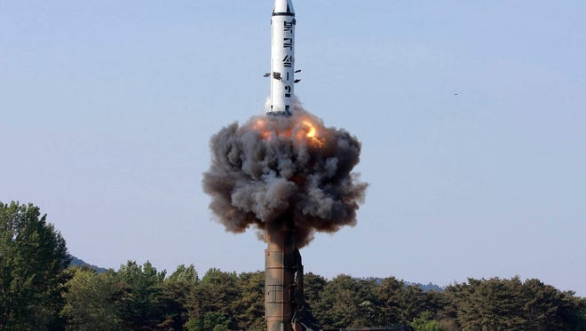 """A North Korean """"Pukguksong-2"""" missile."""