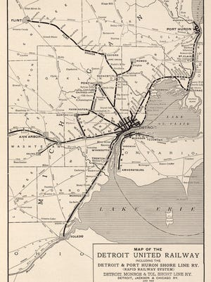 A map of the railway that took passengers to Port Huron, Flint, Ann Arbor and Canada.