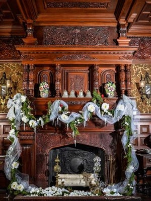 The dining room mantel at Wilderstein Historic Site, Rhinebeck, is decorated for the holidays. Site open for self-guided tours beginning Nov. 27.