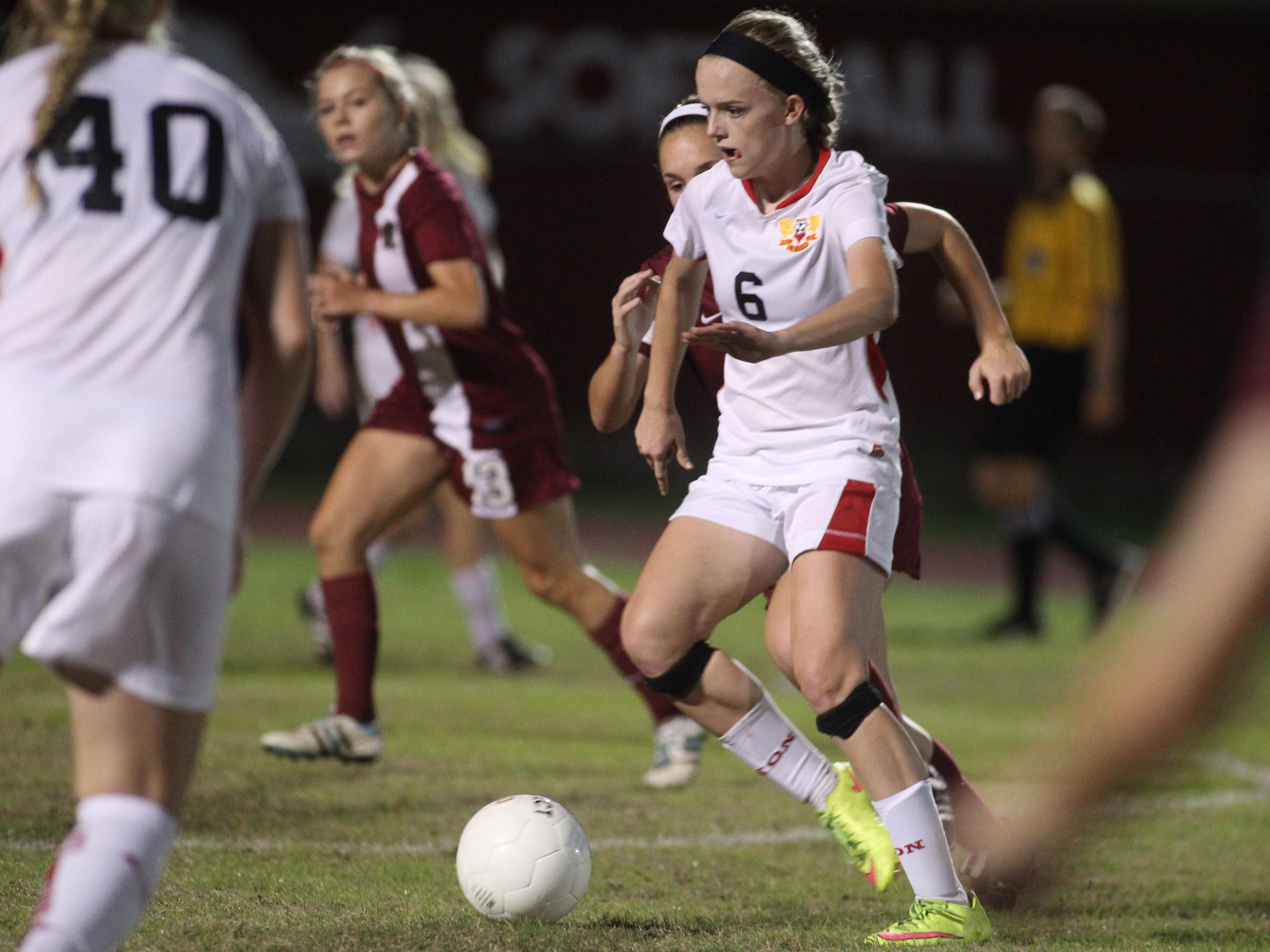 Leon sophomore Maddie Powell's role has changed from forward to midfielder this season, but she still managed to score a goal during Tuesday night's 3-0 win over Chiles.