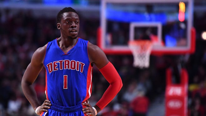 Mar 22, 2017; Chicago, IL, USA; Reggie Jackson reacts during the second half of the Pistons' 117-95 loss to the Bulls at the United Center.