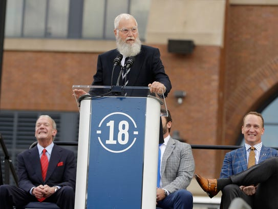 David Letterman speaks during the unveiling of a Peyton