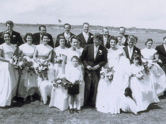 The Kennedy wedding party poses in Newport, R.I., in