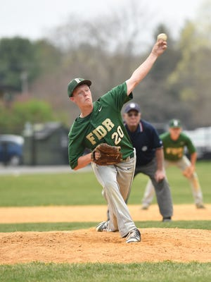 Roosevelt's Brandon Lahey throws a pitch during Friday's game against Poughkeepsie.