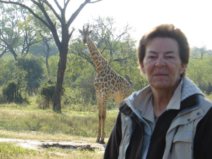 Sue Ferrell during her safari trip to Zimbabwe.