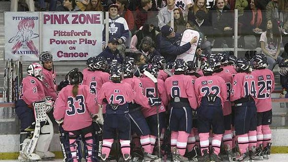 Pittsford hockey power play against cancer