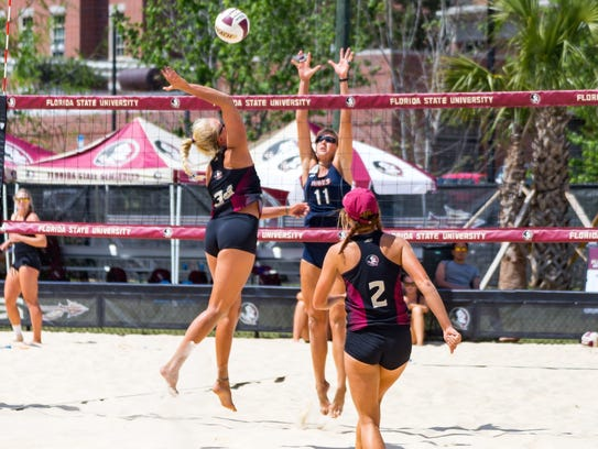 The Florida State beach volleyball team picked up three
