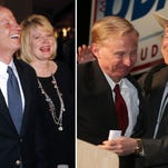 Left, Cynthia Coffman, pictured with her husband, U.S. Rep. Mike Coffman, is the current deputy attorney general. Right, Don Quick is congratulated by Ken Salazar after he accepted his party's nomination to run for attorney general.