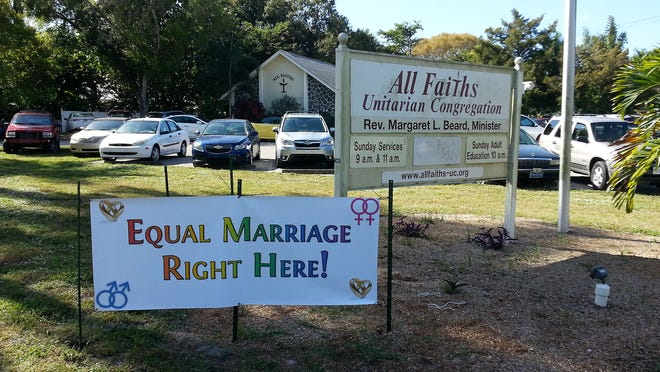 A sign at All Faiths Unitarian Congregation in Fort Myers.